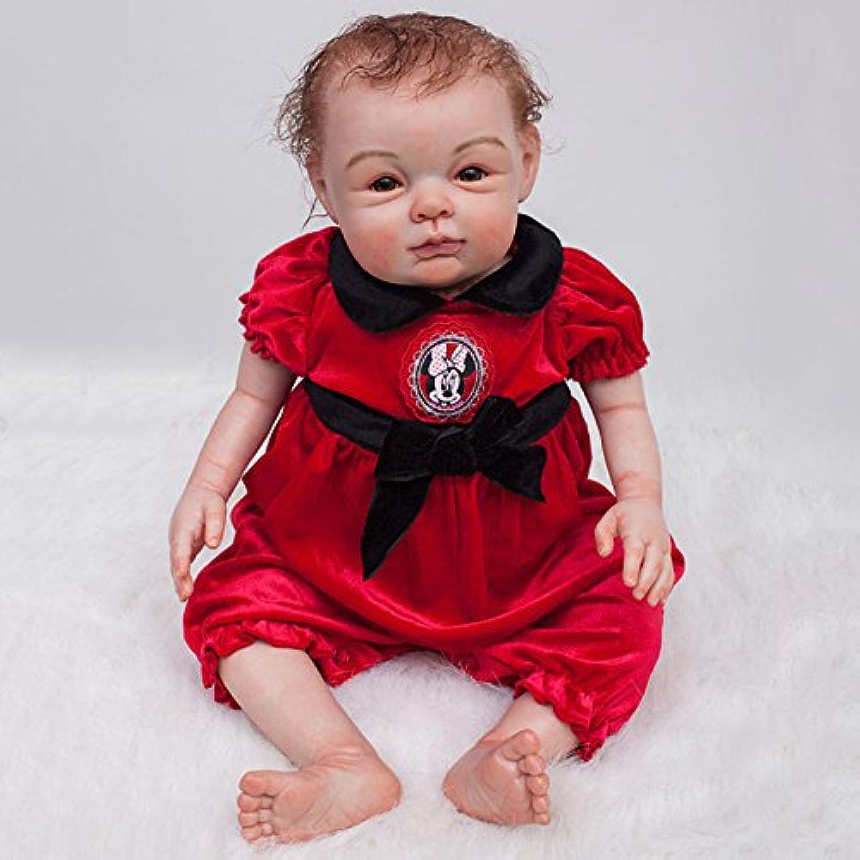 oumeinuo Rebornベビー人形Siliconeビニール22インチ55 cm磁気口リアルなかわいい少年少女人形玩具レッドドレス