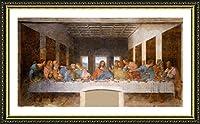 "Alonlineアート–最後の晩餐Leonardo da Vinciゴールドフレーム入りポスター(印刷綿100%キャンバス発泡ボードon )–Ready To Hang   41"" x24""   Giclee Framed壁アート油絵プリントフレーム付きアートワーク"
