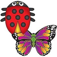MicroKite 2 Pack, set of 2 Mini Mylar Kites, LadyBug and Butterfly
