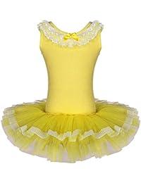 BAOHULU バレエレオタード 子ども 女の子 袖無し 可愛い蝶リボン バレエ レオタード スカート付き