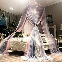 ラウンドカーテンドームベッド3ドア蚊帳二重層キャノピードレープぶら下げネット蚊キャノピーレースネット寝具 (色 : ピンク, サイズ さいず : 1.2 m (4ft))