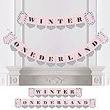 ピンクのONEderland - ホリデー 雪の結晶 ウィンター ワンダーランド 誕生日パーティー バンティング バナー - パーティーデコレーション - ウィンター ONEderland