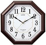 芳国産業 掛け時計 電波 アナログ ハイパーエイト 夜間秒針停止 ダークブラウン YW9138DBR