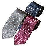 洗える ウォッシャブル 加工 ビジネス ネクタイ 3本 セット ドット 小紋 ペイズリー