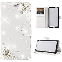 Happon LG G7 Fit 財布 レザー シェル 〜と 保護 耐久性のある フリップ ケース フォリオ フリップ 電話 カバー バッグ 〜と カード スロットs,現金 ポケット,Bee