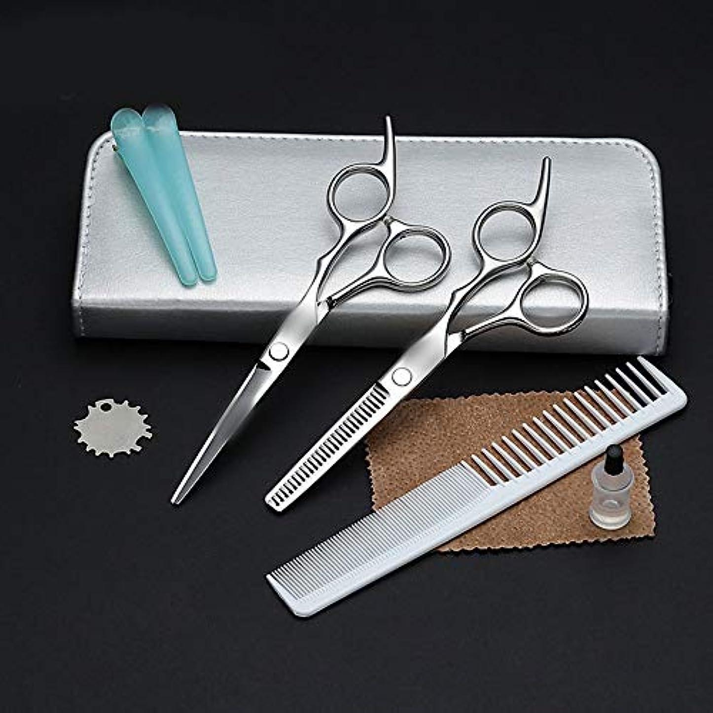 アーティキュレーションバッテリーエールWASAIO シアーズキットプロフェッショナル理容サロンレイザーエッジツールファミリー大人の子供のマット付き+歯シザーセットを切断理髪はさみトリミングアクセサリー薄毛 (色 : Silver)