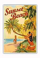 サンセットビーチハワイ - オアフ島ノースショア - サーファー - ビンテージなハワイの旅行のポスター によって作成された リック・シャープ - アートポスター - 33cm x 48cm