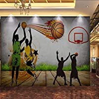 Wuyyii カスタム3D写真の壁紙3Dステレオバスケットボール手作り壁画カスタム中庭体育館スポーツ用品店壁紙-120X100Cm