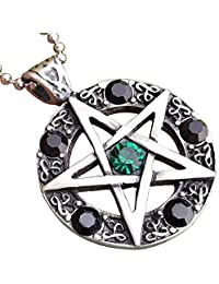 Wicca Jewelry Celtic Pentagram Pentacle Star Green-Black Crystal Gem Wiccan Pagan Witch Magic Healing Protection Amulet Pewter Men's Women's Pendant Necklace Charm for Men Women Silver Ball Chain