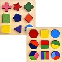 skylety 2の図形のセット木製Chunkyパズル幼稚園幾何図形パズル並べ替えゲーム早期開発教育玩具