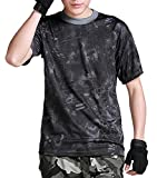 スポーツウェア (ガンフリーク) GUN FREAK 迷彩柄 半袖 Tシャツ タクティカル ストレッチ メッシュ サバゲー ( タイフォン ブラック , 3XL )
