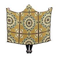 CKYHYC 膝掛け 黄色のアラベスク フード付き毛布 肩掛け 着る毛布 ブランケット 帽子付きマント 部屋着 ルームウェア フランネル 可愛い 柔らかい レディース 大きい