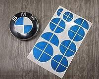 BLUE METALLIC BMW HALFバッジエンブレムオーバーレイステッカーフードリムフィット全てのBMW