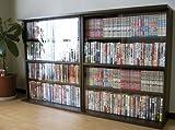 本棚 2個組 日本製 書棚 ガラス 扉 コミック DVD 収納 ダークブラウン JS2DBR
