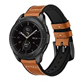 Kartice Compatible Ticwatch Pro/fossil Q EXPLORIST バンド 22mmソフト高級の本革とシリコン合わせてデザインバンド Compatible Gear S3 Classic/Galaxy Watch 46mm通用交換ベルト(ブラウン)