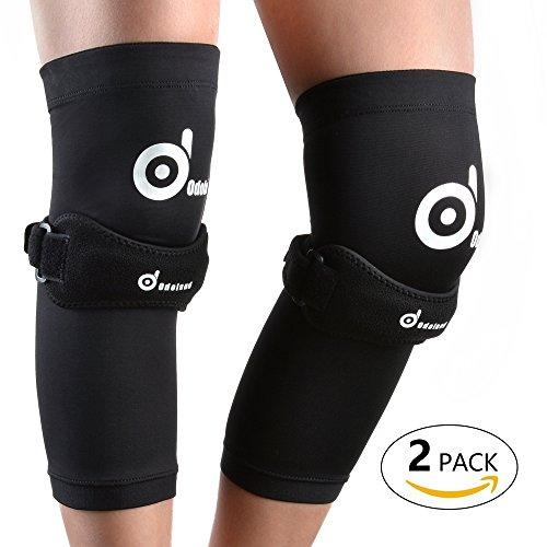 ODOLAND® 【2サポーター+2バンド】膝サポーター 怪我予防と膝の痛みの治療 調整可能 男女適用 膝の痛み 変形性膝関節症 膝痛 運動 膝関節 ひざ痛 立ち上がり補助 5サイズ(S/M/L/XL/XXL)選択可 (ブラック) (M(35-43cm))