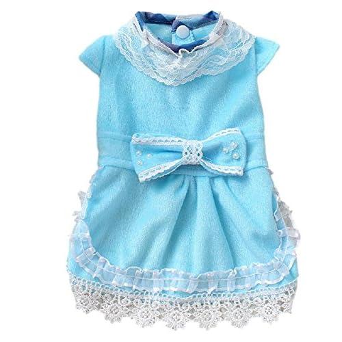 Rant Bell 犬用 ワンピース かわいい 洋服 レース リボン 小型犬 用 (3 ブルー M)