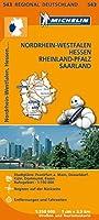 Michelin Regionalkarte Nordrhein-Westfalen / Hessen / Rheinland-Pfalz / Saarland 1 : 350 000: Stadtplaene: Frankfurt a. Main, Duesseldorf, Koeln, Dortmund, Essen. Ruhrgebiet 1 : 150 000. Register. Entfernungen und Fahrzeiten