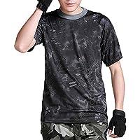 (ガンフリーク) GUN FREAK 迷彩柄 半袖 Tシャツ タクティカル ストレッチ メッシュ サバゲー (タイフォン ブラック, XL)