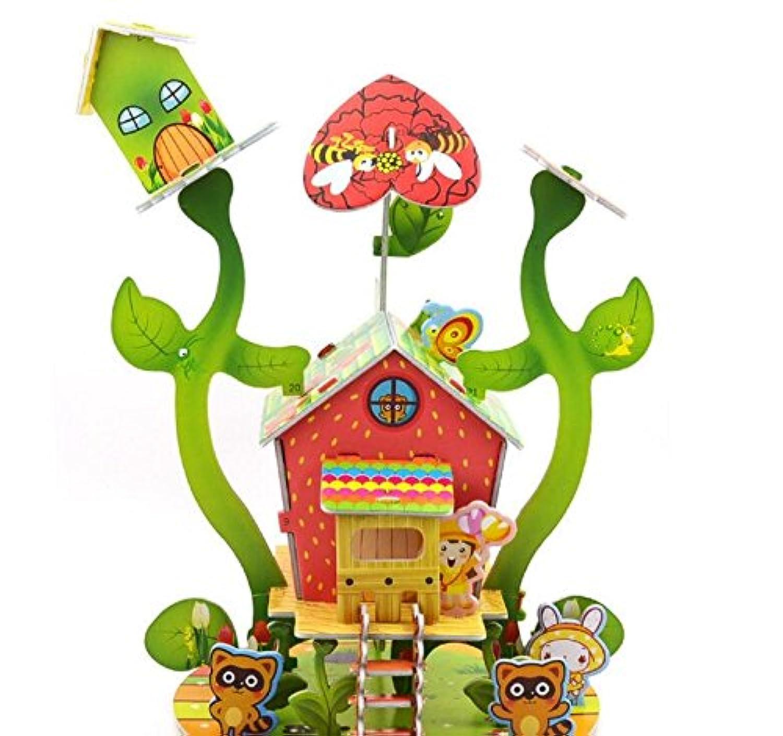 HuaQingPiJu-JP 創造的な教育3Dパズルアーリーラーニングシェイプカラー動物玩具ファンタスティックギフト(ハートハウス)