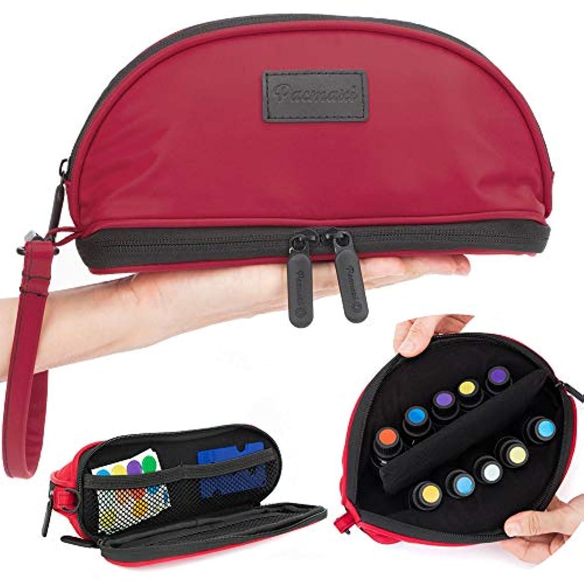 ペナルティ投資リーフレット[Pacmaxi]エッセンシャルオイル 収納ポーチ 携帯便利 旅行 10本収納(5ml - 15ml) ナイロン製 撥水加工 ストラップあり (レッド)