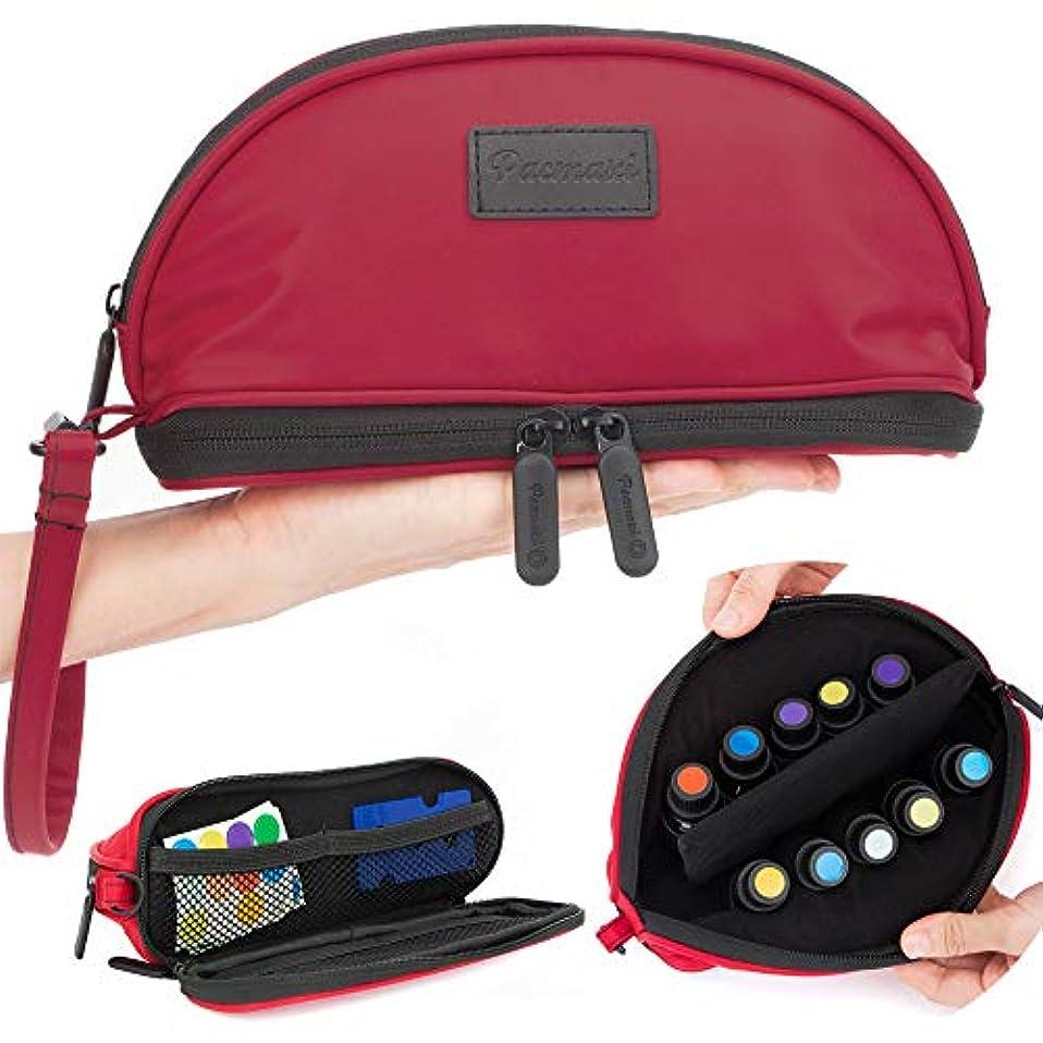 まもなく電気技師受け入れ[Pacmaxi]エッセンシャルオイル 収納ポーチ 携帯便利 旅行 10本収納(5ml - 15ml) ナイロン製 撥水加工 ストラップあり (レッド)