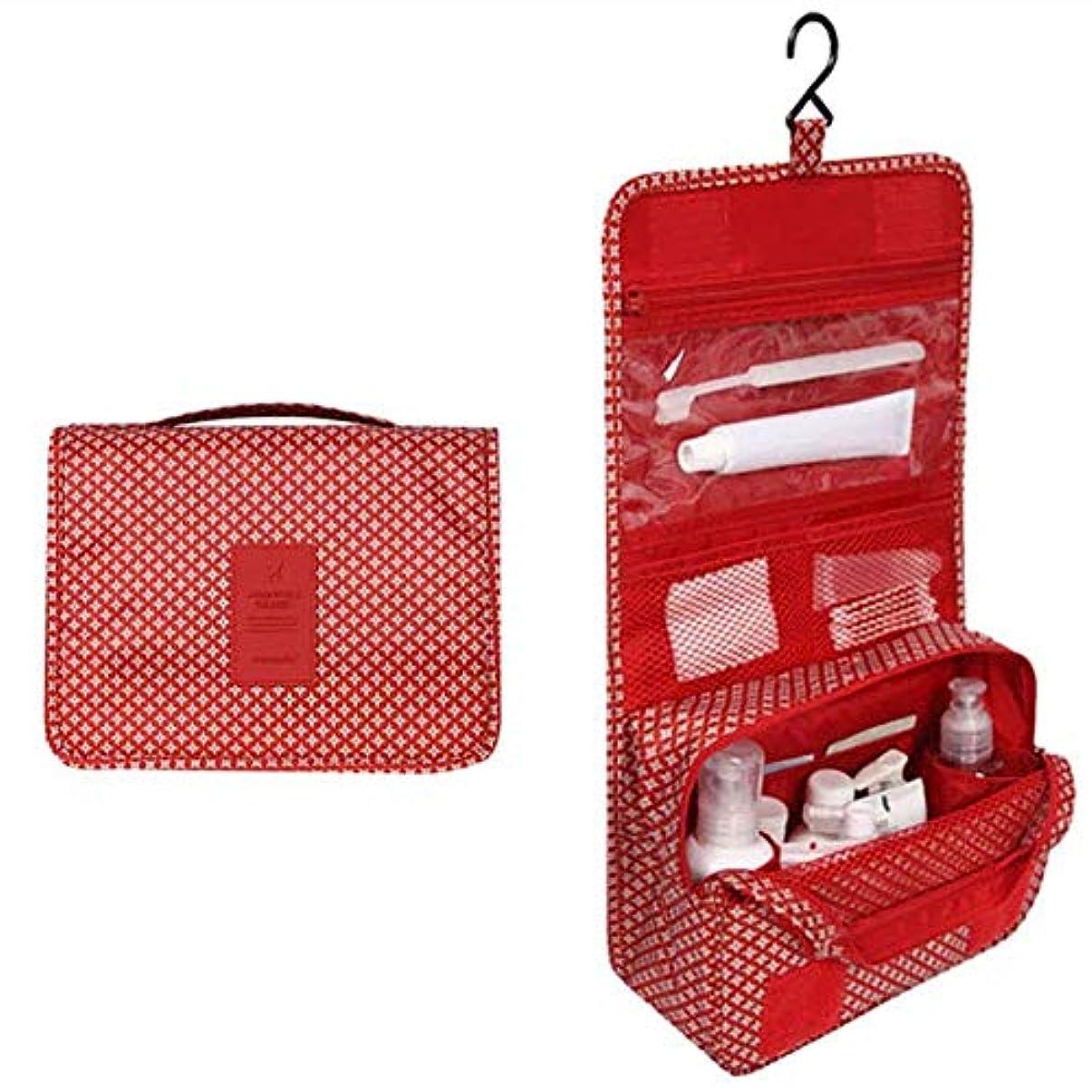 盲信行公使館Chinashow 休暇用吊りフックとレディース メンズ キット向け 大容量 化粧品 化粧トラベルオーガナイザーバッグケース、赤い星 - トイレタリー旅行バッグ化粧品袋 ハンギング