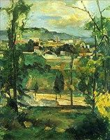 手描き-キャンバスの油絵 - Village behind 森とジャングル ポール・セザンヌ 芸術 作品 洋画 ウォールアートデコレーション -サイズ02