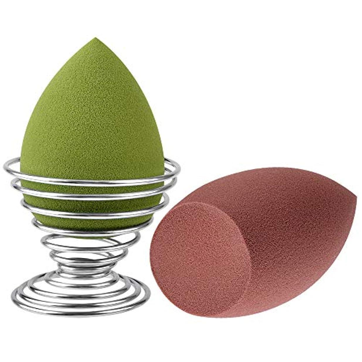 プレゼン可動式持続するメイクスポンジパフ Ninonly 化粧スポンジ ファンデーションパフ 人気の贈り物 乾湿兼用 しずく型 収納ホルダー付き