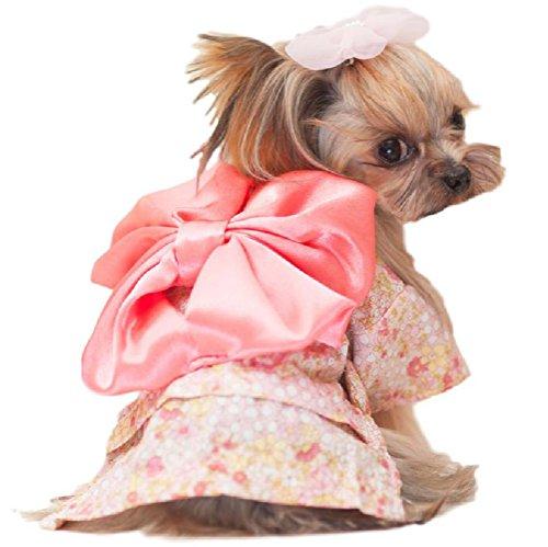 (ウレロ) urello ハレの日 犬 服 振袖 着物 浴衣 和服 ペット 夏祭り 七五三 記念日 コスチューム 衣装 (L, ピンク)