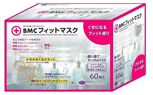 BMC フィットマスク 使い捨てサージカルマスク レディース&ジュニアサイズ 白色(60枚入)