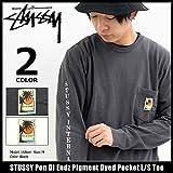 (ステューシー) STUSSY Tシャツ 長袖 メンズ Pon Di Endz Pigment Dyed Pocket サイズM ブラック [並行輸入品]
