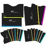 カードケース カードプロテクター iRainy RFIDブロッキングスリーブ 16セット [12個 クレジットカードスリーブ & 4個 パスポートスリーブ] 黒