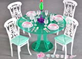 1/6 ドールサイズ ミニチュア ダイニングテーブル 椅子4脚と食器類セット