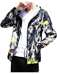 maweisong Men Hooded Windbreaker Outdoor UV Sun Protection Jacket