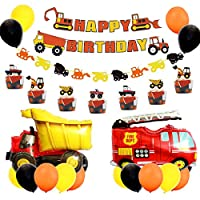 男の子車パーティー 誕生日 建設車 ショベルカー 消防車 Car カップケーキトッパー バナー ガーランド バルーン オレンジ イエロー ブラック 20個