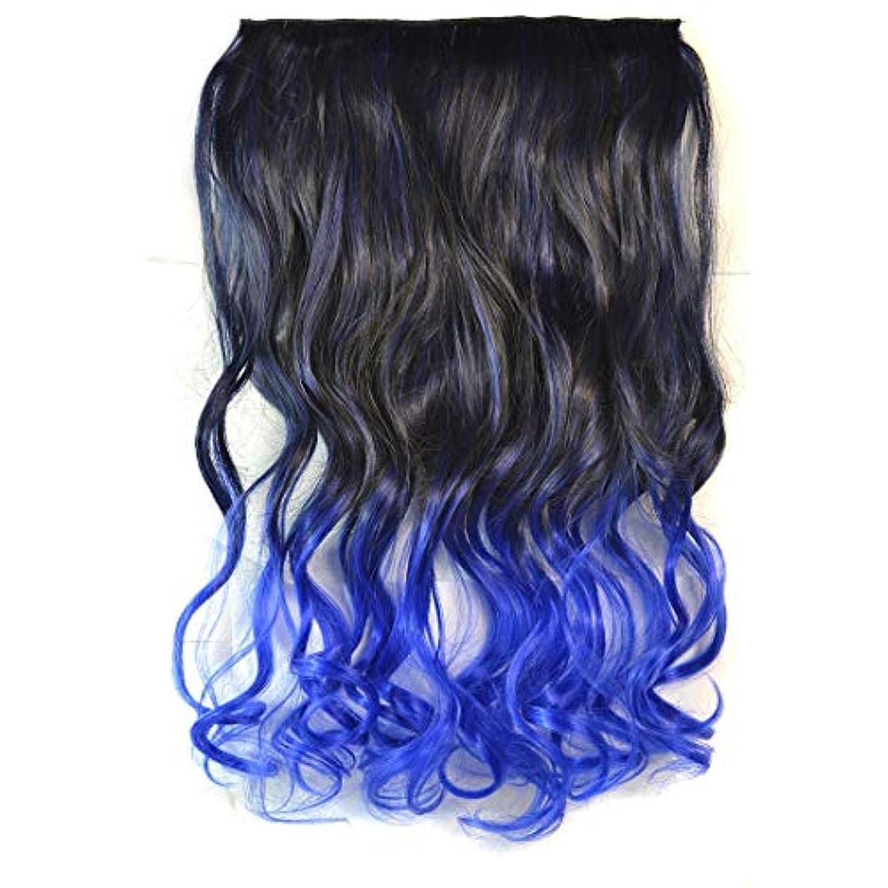 WTYD 美容ヘアツール ワンピースシームレスヘアエクステンションピースカラーグラデーション大波ロングカーリングクリップタイプヘアピース
