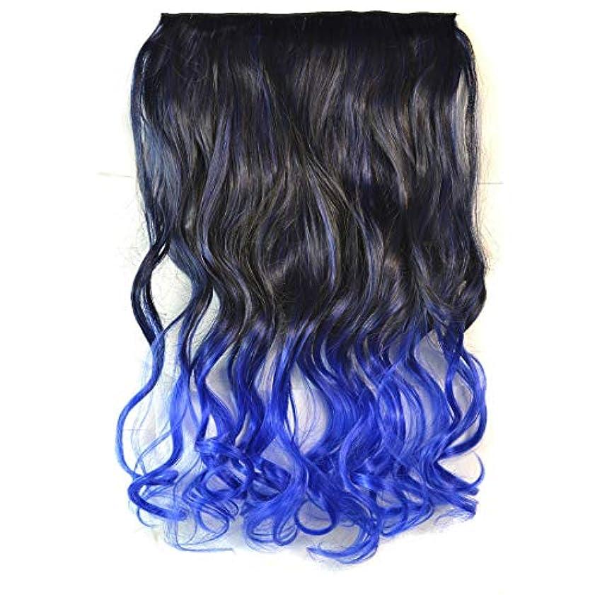 申込み何でも風変わりなWTYD 美容ヘアツール ワンピースシームレスヘアエクステンションピースカラーグラデーション大波ロングカーリングクリップタイプヘアピース