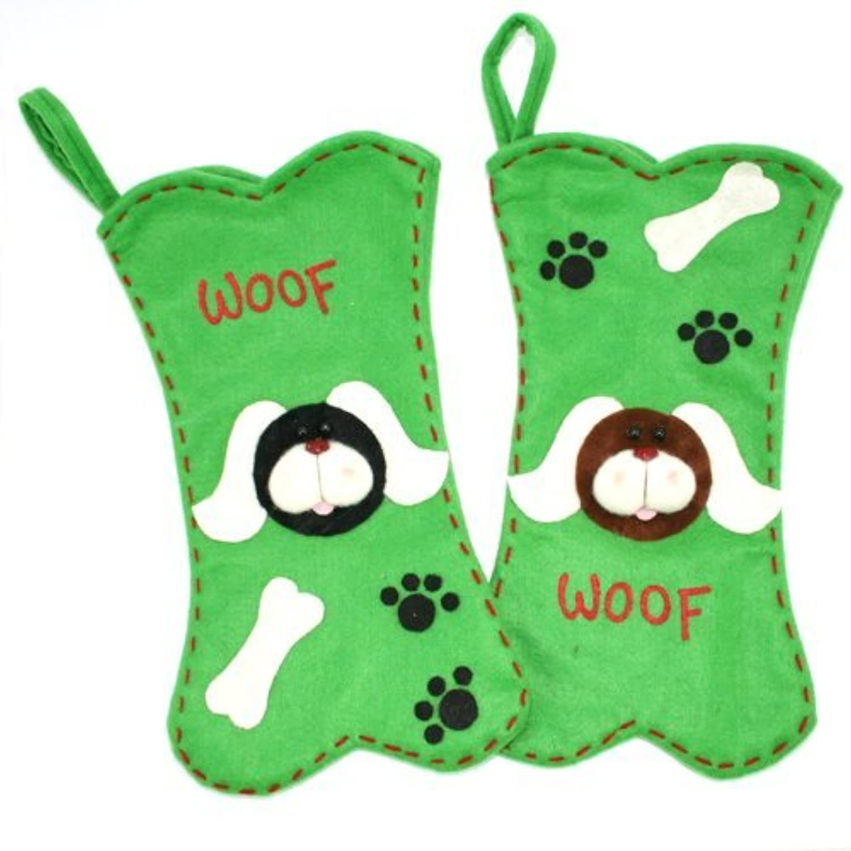 犬ファブリックWoof骨形クリスマスストッキングbyブラックジンジャー