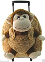 Kids Beige Rolling Backpack With Monkey Stuffie -Affordable Gift for your Little One! Item #DKKI-8095C [並行輸入品]