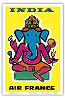 インド - エアフランス - ヒンドゥー教の主ガネーシャ - ビンテージな航空会社のポスター によって作成された ジャン・カルリュ c.1959 - アートポスター - 31cm x 46cm