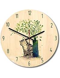 木掛け時計 木製時計 木製 天然木 連続秒針 音無し かわいい 動物模様 部屋装飾 プレゼント 直径約28cm (猫)