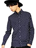 (エイト) 8(eight)4color 国産 ドットシャツ 水玉 長袖シャツ コットン 日本製 高品質 ネイビーA M
