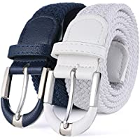 Marino Braided Stretch Belt - Fabric Woven Belt - Casual Weave Elastic Belt for Men and Women - PU Leather Loop and End Tip - Navy / White - XL