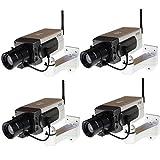 Seesii Brand Fake Dummy CCTV Camera Motion Detection Motorized Pan Movement Blinking LED 1/2/3/4pcs (pack of 4) [並行輸入品]