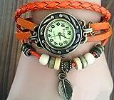アンティーク調 本革 ベルト レザー ラップブレス 腕時計 リーフチャーム ブレスレット ウォッチ Newカラー追加10色 (オレンジ)
