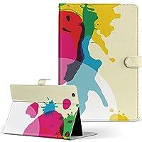 igcase dtab Compact d-02H Huawei dtab Compact タブレット 手帳型 タブレットケース タブレットカバー カバー レザー ケース 手帳タイプ フリップ ダイアリー 二つ折り 直接貼り付けタイプ 001573 フラワー ペンキ カラフル