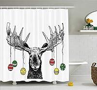 クリスマス&新年おめでとう シャワーカーテン バスカーテン 防カビ おしゃれ 180x180cm