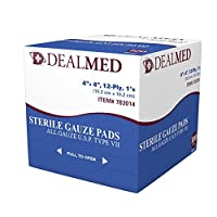 Dealmed Sterile Gauze Pads, Individually Wrapped Absorbent 4 x 4 12 Ply Cotton, 100/Box by dealmed