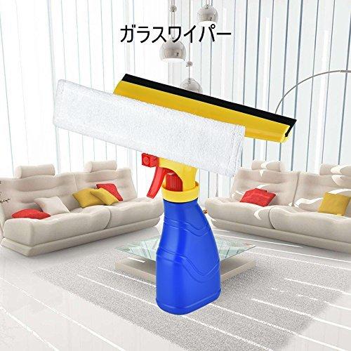 ガラスワイパー COOFEL ガラス掃除道具 洗車セット 窓掃除 スプレー式洗剤瓶&ブラシ付き 機能合一